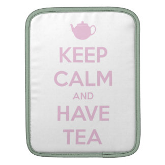 Keep Calm and Have Tea Pink on White Sleeves For iPads