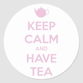 Keep Calm and Have Tea Pink on White Round Sticker