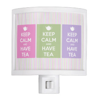 Keep Calm and Have Tea Pinstripe Collage Nite Lite