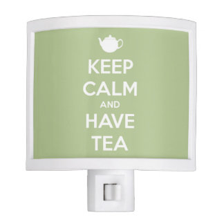 Keep Calm and Have Tea Sage Green and White Night Light