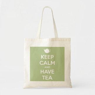 Keep Calm and Have Tea Sage Green Budget Tote Bag