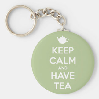 Keep Calm and Have Tea Sage Green Keychain