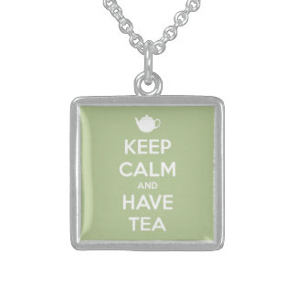 Keep Calm and Have Tea Sage Green Square Pendant Necklace