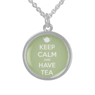 Keep Calm and Have Tea Sage Green Round Pendant Necklace