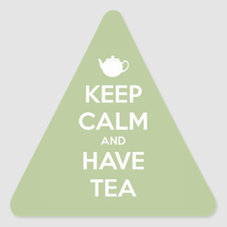Keep Calm and Have Tea Sage Green Triangle Sticker