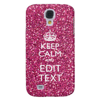 Keep Calm and Have Your Text on Pink Rose Galaxy S4 Cover