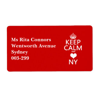 Keep Calm and Heart New York (customisable colors) Label