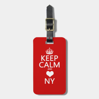 Keep Calm and Heart New York (customisable colors) Luggage Tag