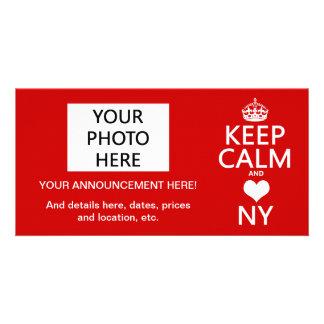 Keep Calm and Heart New York (customisable colors) Customized Photo Card
