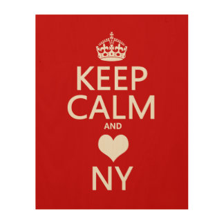 Keep Calm and Heart New York (customisable colors) Wood Wall Art