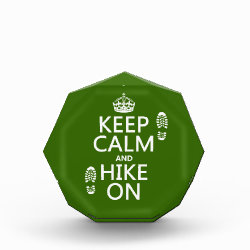 Small Acrylic Octagon Award with Keep Calm and Hike On design