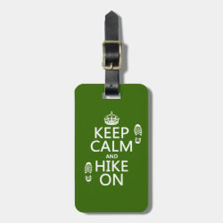 Small Luggage Tag with leather strap with Keep Calm and Hike On design