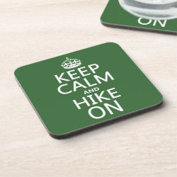 Beverage Coaster with Keep Calm and Hike On design