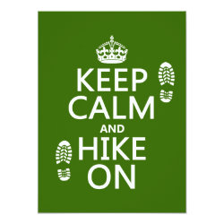 5.5' x 7.5' Invitation / Flat Card with Keep Calm and Hike On design
