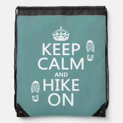 Drawstring Backpack with Keep Calm and Hike On design