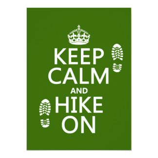 Keep Calm and Hike On (any background color) Custom Announcements