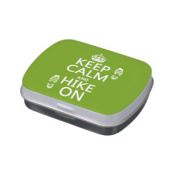 Rectangle Jelly Belly™ Candy Tin with Keep Calm and Hike On design