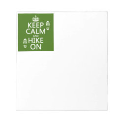 5.5' x 6' Notepad - 40 pages with Keep Calm and Hike On design