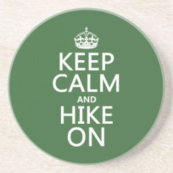 Sandstone Drink Coaster with Keep Calm and Hike On design