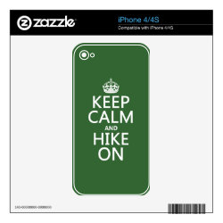 iPhone 4/4S Skin with Keep Calm and Hike On design