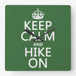 Square Wall Clock with Keep Calm and Hike On design