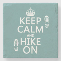 Marble Coaster with Keep Calm and Hike On design