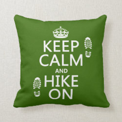 Cotton Throw Pillow with Keep Calm and Hike On design