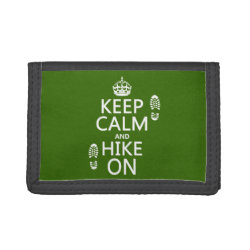 TriFold Nylon Wallet with Keep Calm and Hike On design