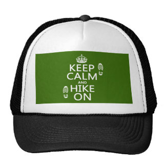 Keep Calm and Hike On (any background color) Trucker Hat