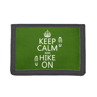 Keep Calm and Hike On (any background color) Trifold Wallets