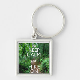 Keep Calm and Hike On Silver-Colored Square Keychain
