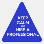 Keep calm and hire a professional dreieckige aufkleber