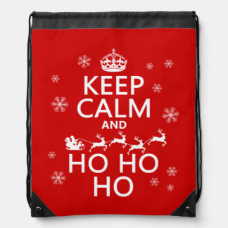 Keep Calm and Ho Ho Ho - Christmas/Santa Drawstring Backpack