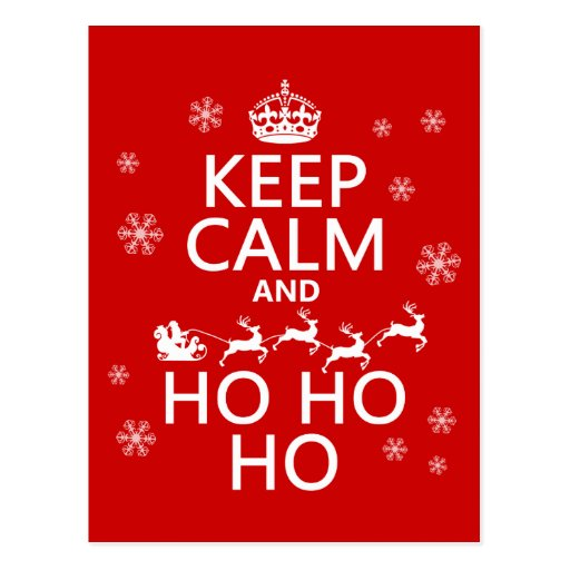 Keep Calm and Ho Ho Ho - Christmas/Santa Post Card