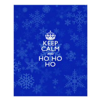 "Keep Calm And Ho Ho Ho on Blue Snowflakes 4.5"" X 5.6"" Flyer"