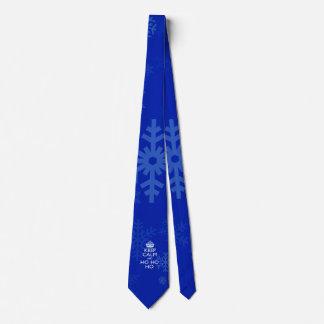 Keep Calm And Ho Ho Ho on Blue Snowflakes Tie