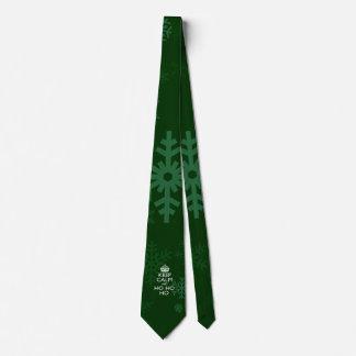 Keep Calm And Ho Ho Ho on Green Snowflakes Neck Tie