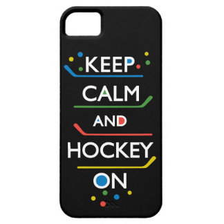 Keep Calm and Hockey On - black iPhone 5 Cover