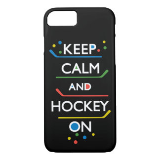 Keep Calm and Hockey On - black iPhone 7 Case
