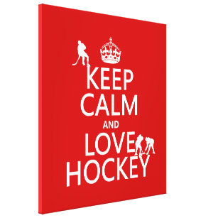 Keep Calm and Hockey On Canvas Print