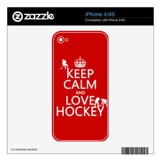 Keep Calm and Hockey On Decals For The iPhone 4