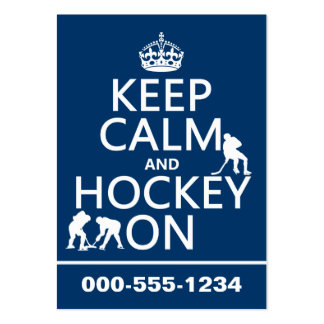 Keep Calm and Hockey On (in any color) Large Business Cards (Pack Of 100)