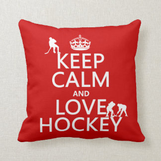 Keep Calm and Hockey On Throw Pillow