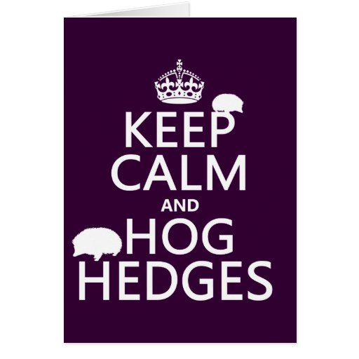 Keep Calm and Hog Hedges (Hedgehogs) (all colors) Greeting Card