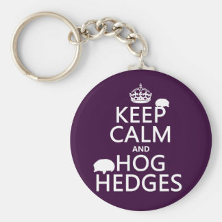 Keep Calm and Hog Hedges (Hedgehogs) (all colors) Keychain