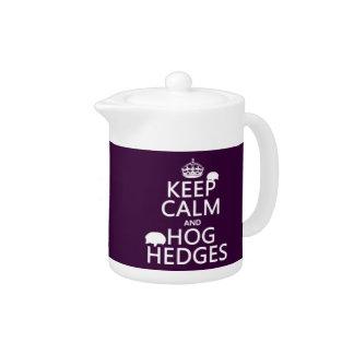 Keep Calm and Hog Hedges (Hedgehogs) (all colors) Teapot