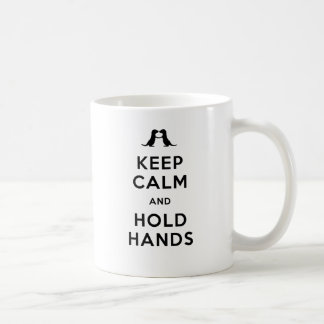 Keep Calm and Hold Hands (Otters Holding Hands) Classic White Coffee Mug