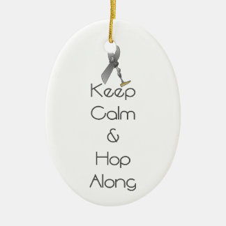 Keep Calm and Hop Along Double-Sided Oval Ceramic Christmas Ornament