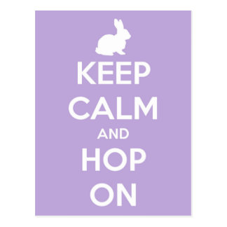 Keep Calm and Hop On Lavender and White Postcard