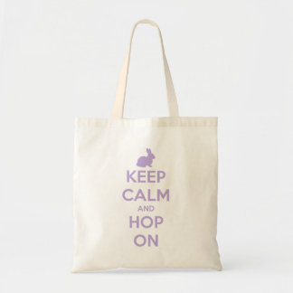 Keep Calm and Hop On Lavender on White Tote Bag